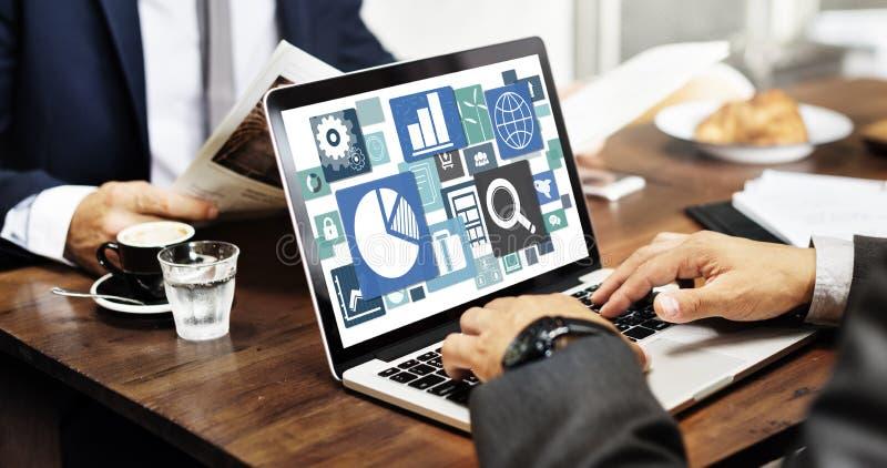 Conceito da gestão de mercado do planeamento de empresa do tipo foto de stock