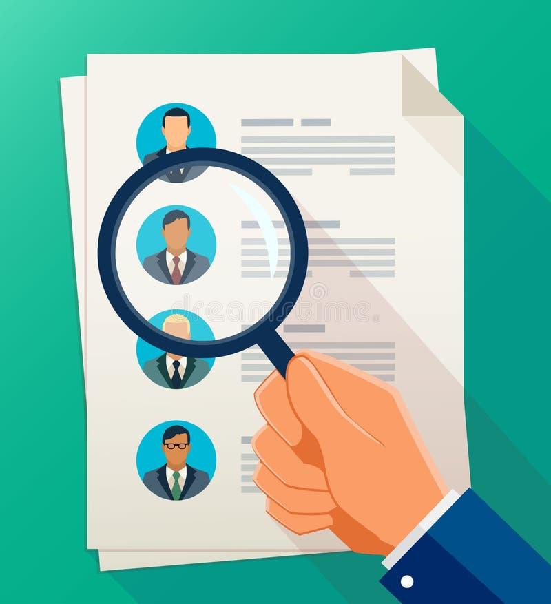 Conceito da gestão de recursos humanos, pesquisa da pessoa qualificada ilustração do vetor