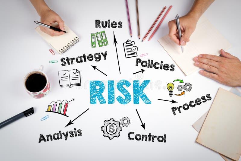 Conceito da gestão de riscos A reunião na tabela branca do escritório fotos de stock