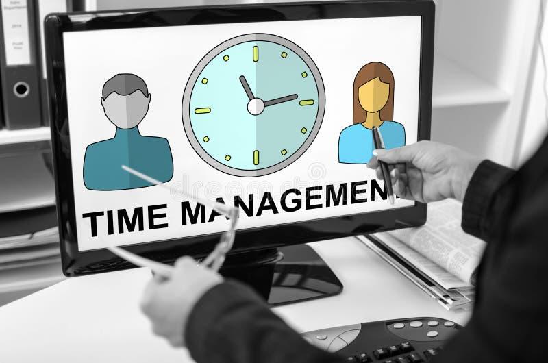 Conceito da gestão de tempo em um monitor do computador imagem de stock