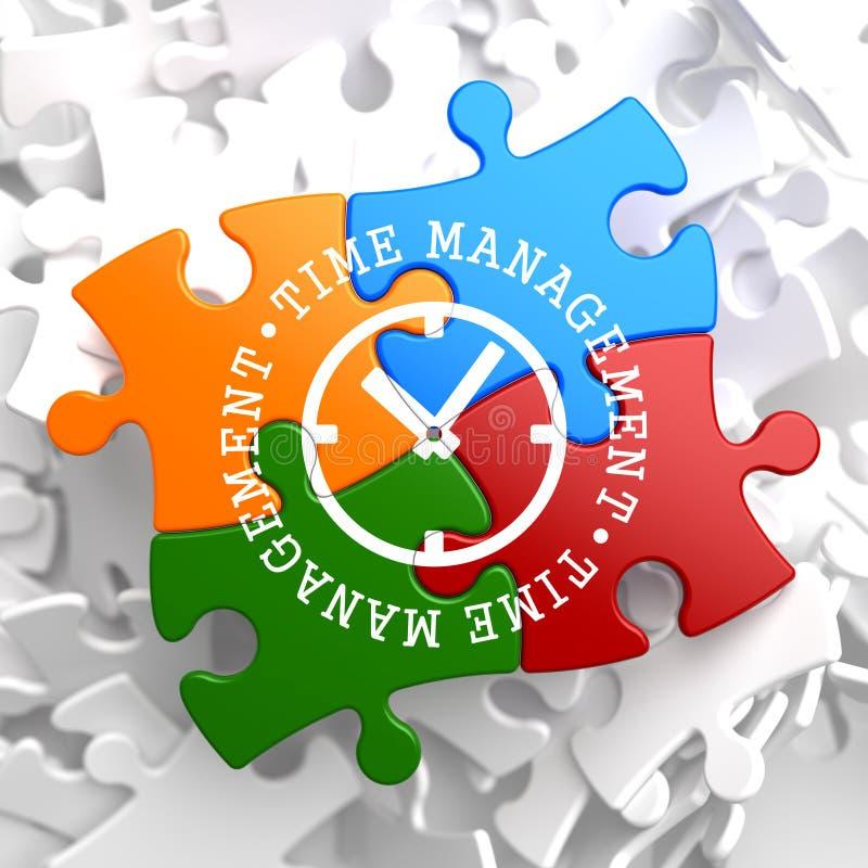Conceito da gestão de tempo no enigma multicolorido. ilustração do vetor