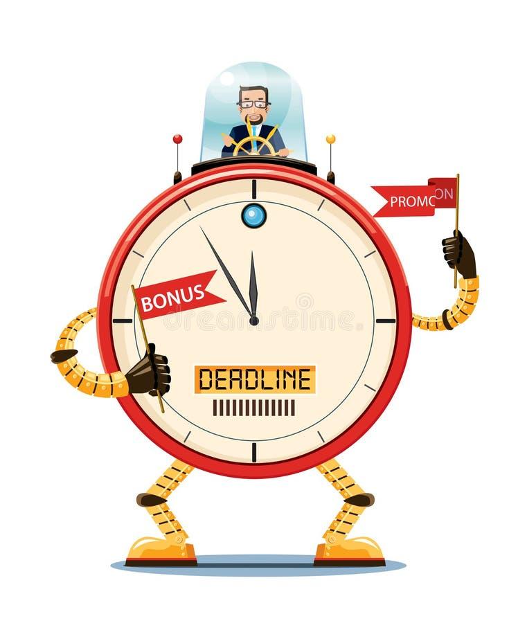 Conceito da gestão de tempo Um chefe que controla um robô gigante do pulso de disparo ilustração do vetor