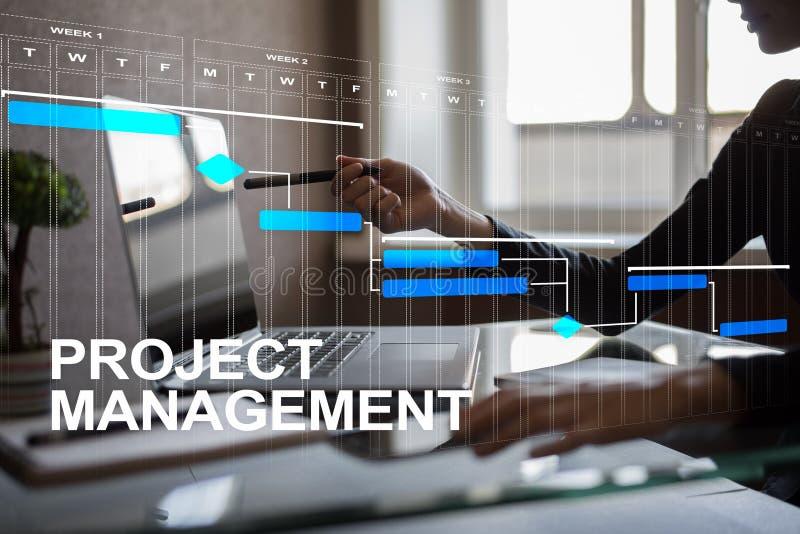 Conceito da gestão do projeto, tempo e recursos humanos, riscos e qualidade e comunicação com os ícones na tela virtual fotografia de stock
