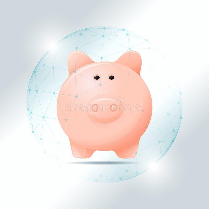 Conceito da gestão financeira com o mealheiro protegido no protetor poligonal da esfera ilustração royalty free