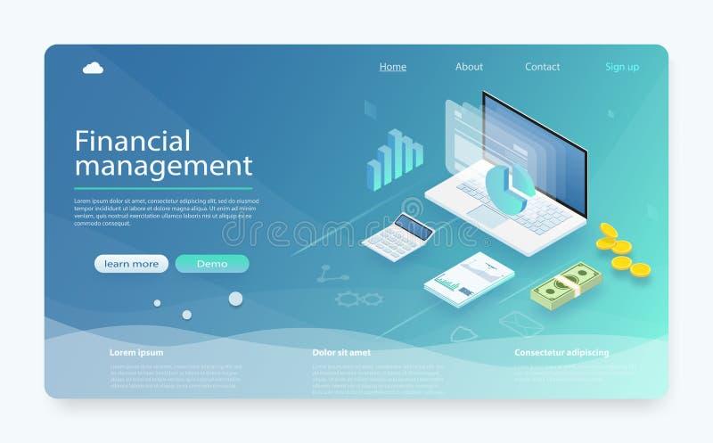 Conceito da gestão financeira Investimento e finança virtual Cálculos financeiros, contando o lucro, relatório, estatísticas ilustração royalty free