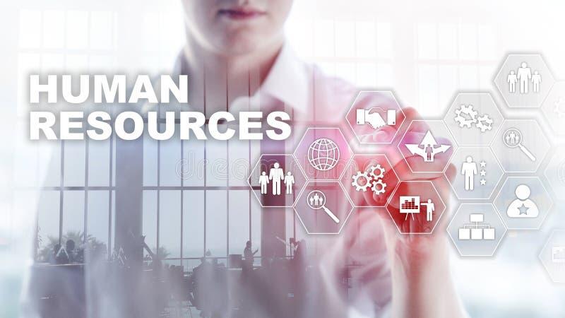 Conceito da gestão da hora dos recursos humanos Associação dos recursos humanos, cuidado do cliente e empregados fotografia de stock royalty free