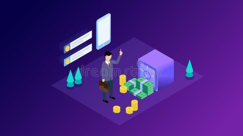 Conceito da gest?o financeira Pode usar-se para a bandeira da Web, infographics, imagens do her?i Ilustra??o isom?trica lisa do v ilustração royalty free