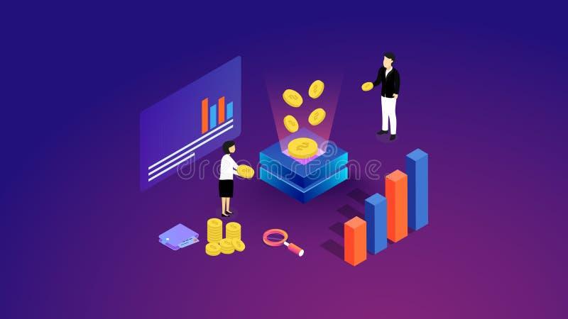 Conceito da gest?o financeira Pode usar-se para a bandeira da Web, infographics, imagens do her?i Ilustra??o isom?trica lisa do v ilustração do vetor