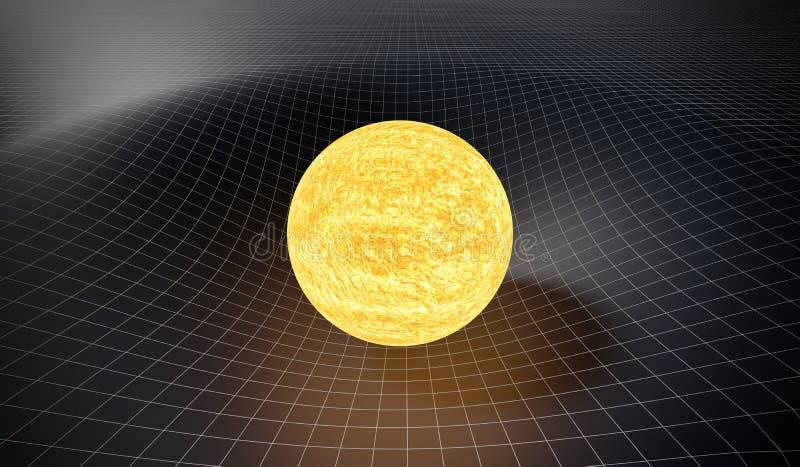 Conceito da gravidade e da relatividade geral Spacetime curvado causado pela gravidade de Sun 3D rendeu a ilustração ilustração do vetor