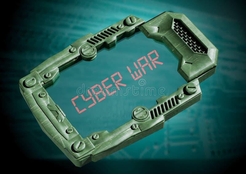 Conceito da guerra do Cyber Comunicador futurista da ficção científica com tela transparente ilustração do vetor