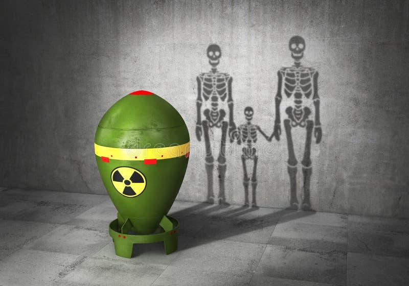 Conceito da guerra nuclear A bomba nuclear moldou a sombra no formulário da família dos esqueletos 3d ilustração royalty free