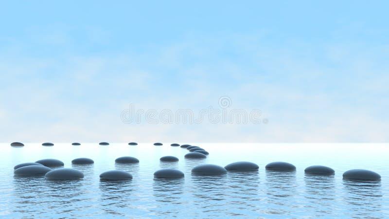 Conceito da harmonia. Trajeto do seixo na água ilustração stock