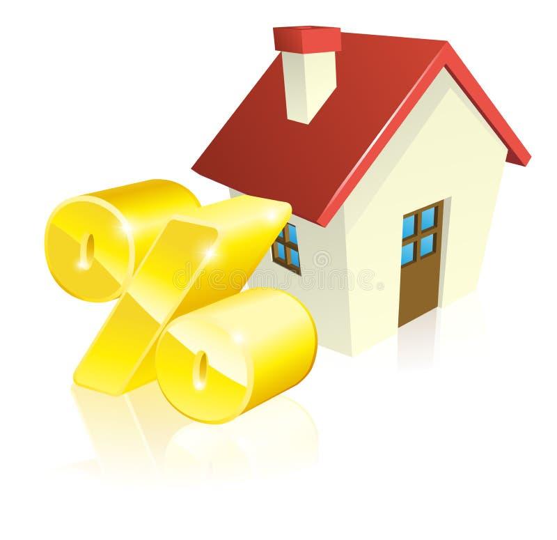 Conceito da hipoteca da porcentagem da casa ilustração stock