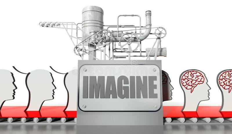 Conceito da idéia, faces com cérebros e máquina ilustração do vetor