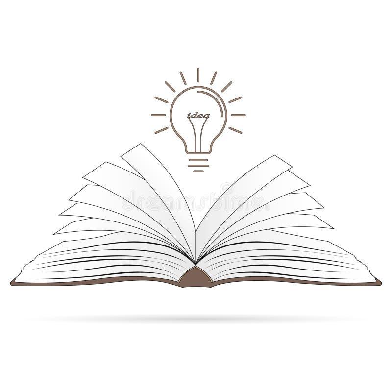 Conceito da idéia Livro aberto com ampola ilustração do vetor