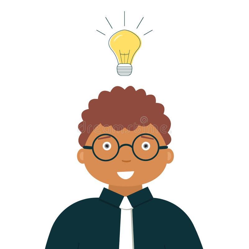 Conceito da ideia do negócio: Contador ou auditor de sorriso do homem negro com a ampola ardente incluída acima da cabeça como um ilustração stock
