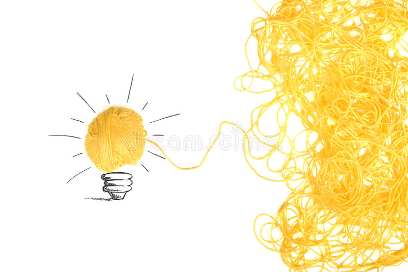 Conceito da ideia e da inovação com bola de lãs fotos de stock royalty free