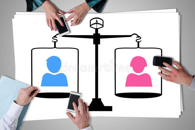 Conceito da igualdade colocado em uma mesa fotografia de stock royalty free
