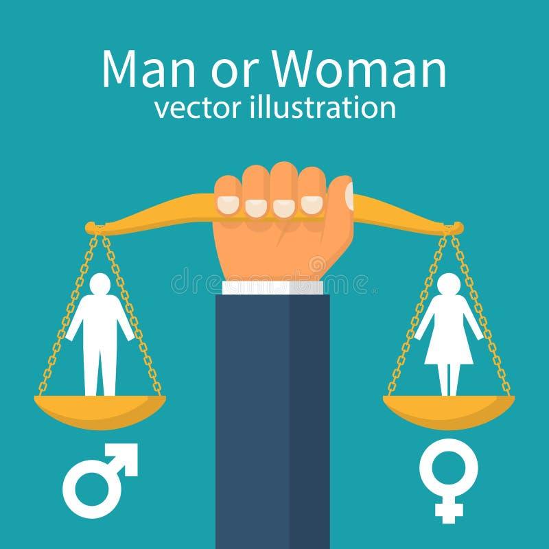 Conceito da igualdade de gênero ilustração do vetor