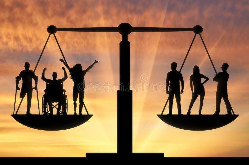 Conceito da igualdade legal social de b das pessoas com inabilidades na sociedade imagem de stock royalty free