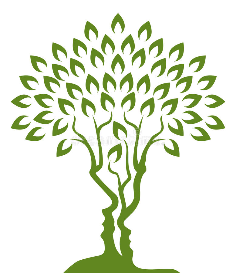 Conceito da ilusão ótica da árvore das caras ilustração royalty free