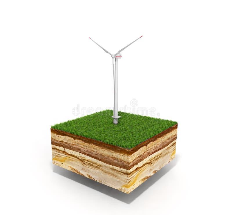 Conceito da ilustração da energia alternativa 3d do de seção transversal ilustração royalty free