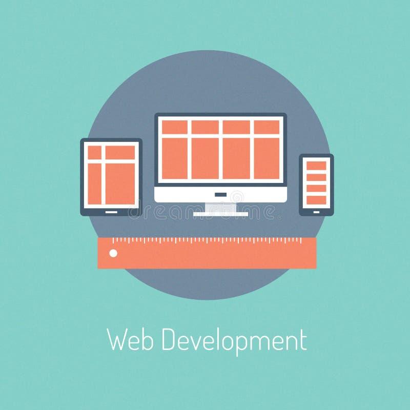 Conceito da ilustração do desenvolvimento da Web ilustração royalty free
