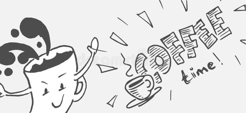 Conceito da ilustração do tempo de Coffe - desenhos animados e handlettering foto de stock