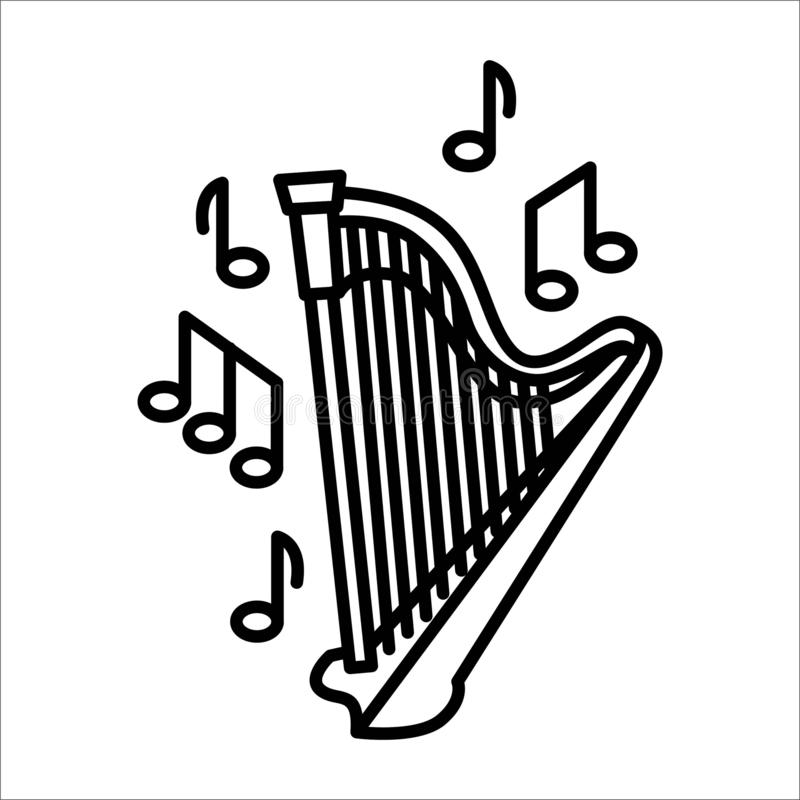 Conceito da ilustração do vetor do instrumento de música da harpa da flauta Preto no fundo branco ilustração royalty free