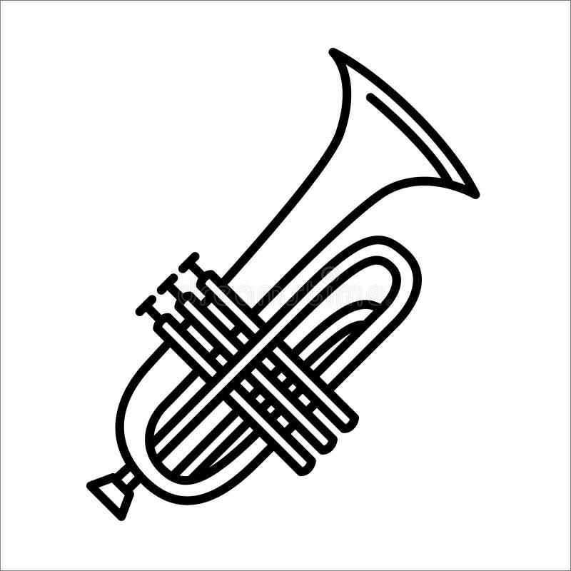 Conceito da ilustração do vetor do instrumento de música da trombeta Preto no fundo branco ilustração royalty free