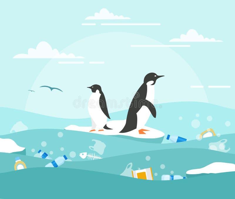 Conceito da ilustração do vetor da poluição do oceano com desperdício plástico Pinguins na parte pequena de gelo e no lote do des ilustração royalty free