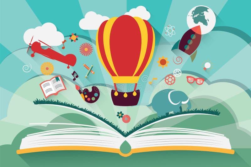 Conceito da imaginação - livro aberto com balão de ar ilustração stock