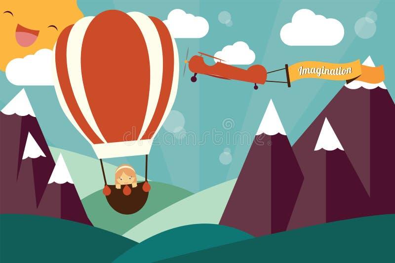 Conceito da imaginação - menina no balão e no avião de ar ilustração royalty free