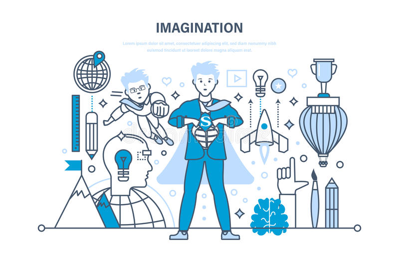 Conceito da imaginação Tecnologia da inovação, treinamento do cérebro, sessão de reflexão, pensamento criativo ilustração stock