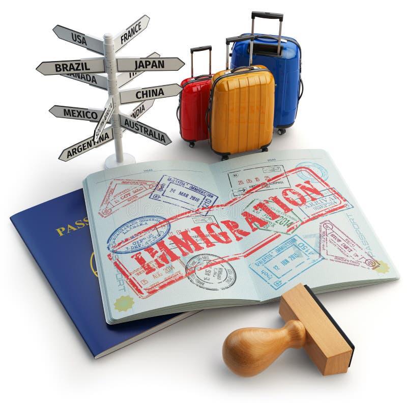 Conceito da imigração Passaporte com selos e vistos, bagagem e ilustração do vetor