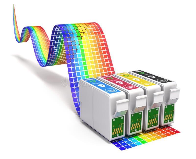 Conceito da impressão com grupo de CMYK de cartuchos para a impressora a jato de tinta ilustração stock