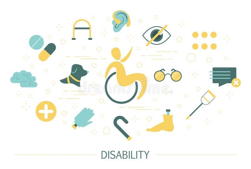 Conceito da inabilidade Pessoa com inabilidades na cadeira de rodas ilustração stock