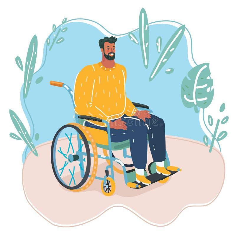 Conceito da inabilidade da pessoa Homem deficiente do s?nior na cadeira de rodas isolada no fundo branco Ilustra??o lisa do vetor ilustração royalty free
