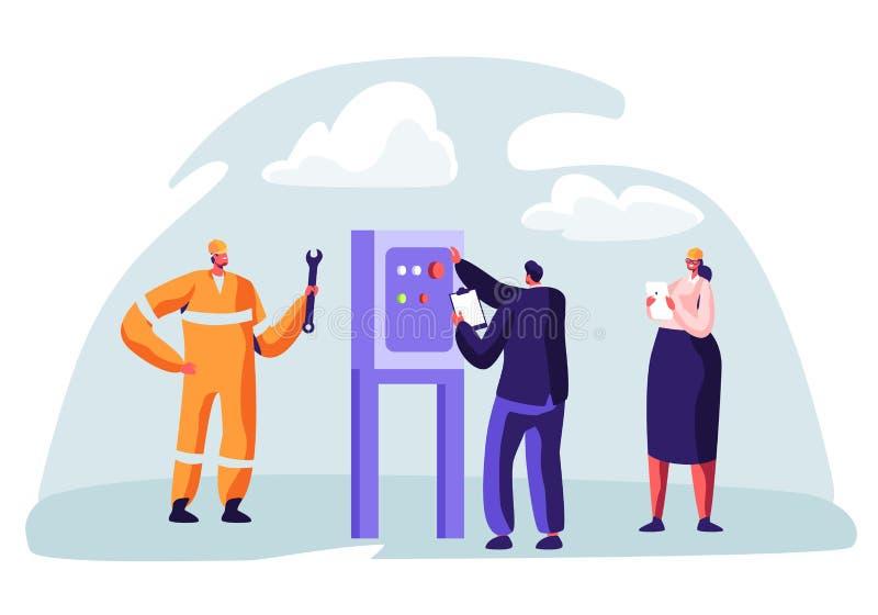 Conceito da indústria de petróleo e gás com o caráter do homem que trabalha no encanamento Trabalhador do Oilman na linha de prod ilustração stock