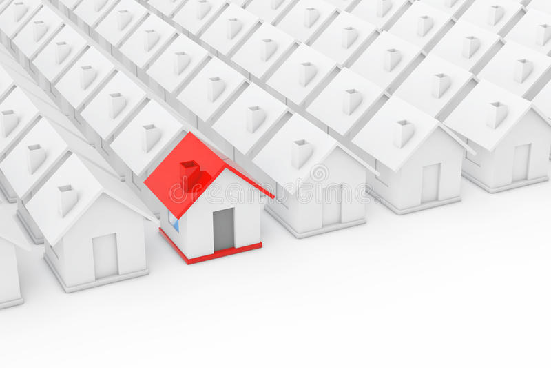 Conceito da indústria de propriedade de Real Estate Casa vermelha dentro entre o branco ilustração stock
