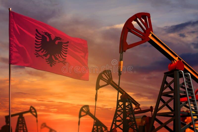Conceito da indústria petroleira de Albânia Ilustração industrial - bandeira e poços de petróleo de Albânia com o por do sol ou o ilustração royalty free