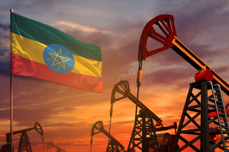 Conceito da indústria petroleira de Etiópia Ilustração industrial - bandeira e poços de petróleo de Etiópia com o por do sol ou o fotos de stock royalty free
