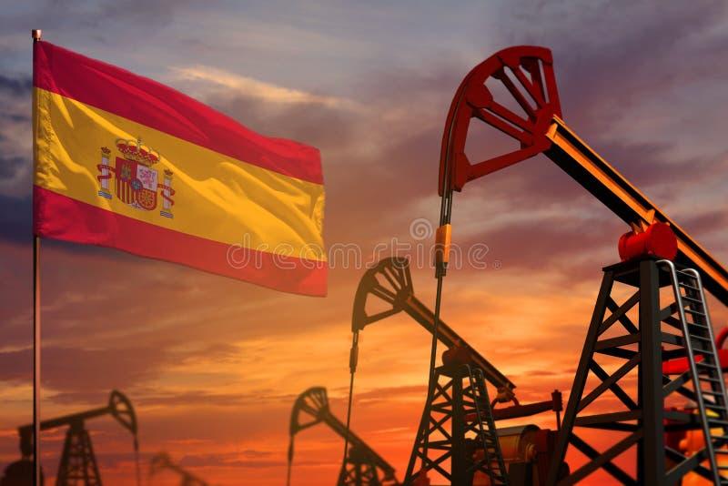 Conceito da indústria petroleira da Espanha Ilustração industrial - bandeira e poços de petróleo da Espanha com o por do sol ou o imagem de stock royalty free