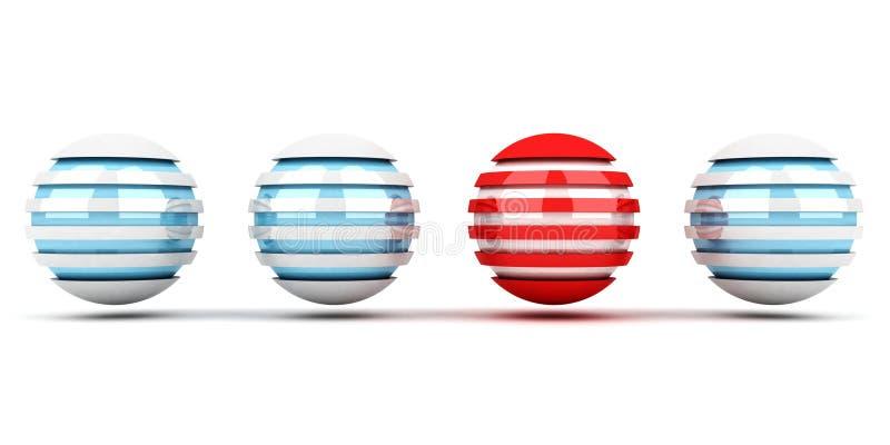 Conceito da individualidade de esferas azuis e vermelhas ilustração stock