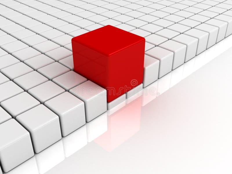 Conceito da individualidade do cubo original vermelho do líder ilustração do vetor