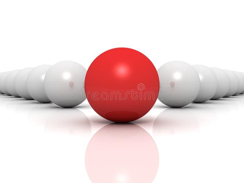 Conceito da individualidade. esfera original vermelha do líder ilustração stock