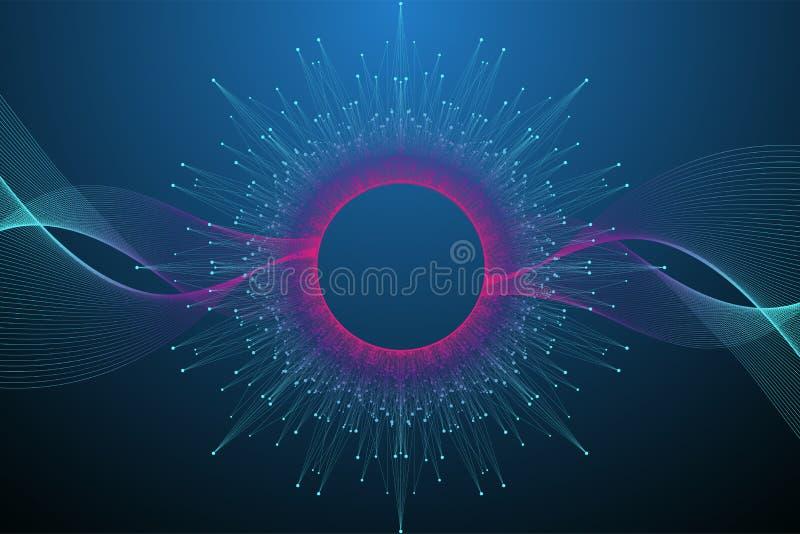 Conceito da informática do quantum Fundo da explosão da esfera Inteligência artificial de aprendizagem profunda Dados grandes ilustração do vetor