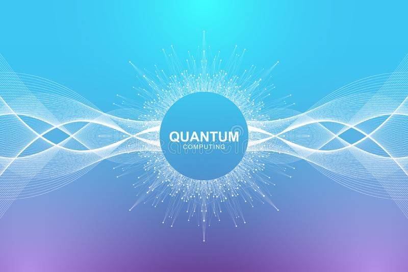 Conceito da informática do quantum Inteligência artificial de aprendizagem profunda Visualização grande dos algoritmos dos dados  ilustração do vetor