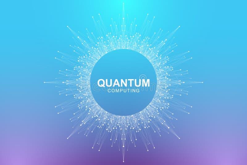Conceito da informática do quantum Inteligência artificial de aprendizagem profunda Visualização grande dos algoritmos dos dados  ilustração stock