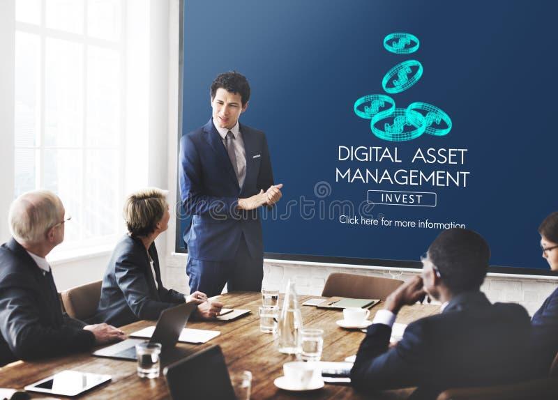 Conceito da informação de dados da gestão de ativos de Digitas fotografia de stock